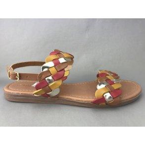 dbca2348f40 Marco Tozzi sandal m. flet - gul/brun kombi