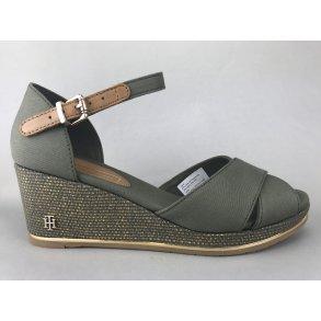 bebe226fa2a Tommy Hilfiger sandal m. kile - grøn/guld FW0FW04077